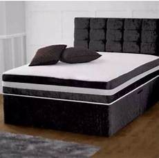 crushed velvet or faux leather divan bed with headboard