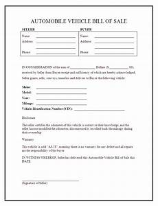 Free Printable Bill Of Sale For Car Free Printable Auto Bill Of Sale Form Generic