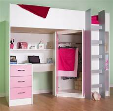 high sleeper cabin bed with desk and wardrobe calder m2270