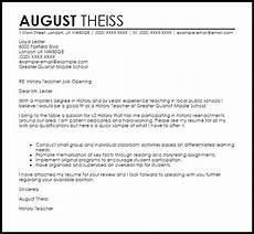 Reading Teacher Cover Letters History Teacher Cover Letter Sample Livecareer