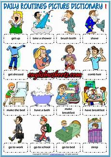 Daily Job Activities Picture Dictionary And Classroom Poster Esl Printable