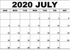 July 2020 Calendar Printable Free Printable July 2020 Calendar Free Printable Blank