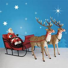 Lighted Santa Sleigh And Reindeer Outdoor 120in Wide Giant Santa Sleigh Amp Two Reindeer Set