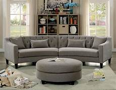 Gray Sectional Sofa 3d Image by Furniture Of America 6370 Rounded Grey Tufted Sectional Sofa