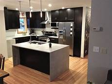 Contemporary Kitchen Island Modern Kitchen Cabinets In Island With Waterfall Countertop