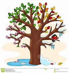 seasons on a tree stock vector illustration of beak