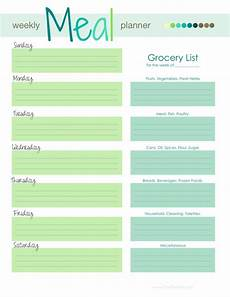 Menu Planner Template Weekly Menu Template