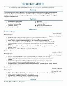 Business Management Cv Business Analyst Cv Template Cv Samples Amp Examples