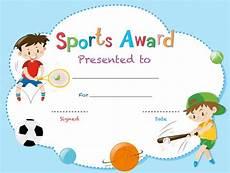 Zertifikatsvorlage Mit Zwei Jungen Die Sportarten Spielen