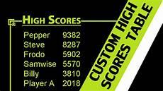 Ranking Chart Maker Gamemaker Tutorial Custom High Scores Table Youtube