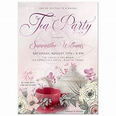 Vintage Party Invitation Vintage Floral Tea Party Invitation Sparkly Pink Bridal