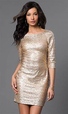 Light Gold Sequin Dress Short Gold Sequin Dress With Long Sleeves
