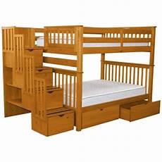 shop bedz king honey pine stairway bunk