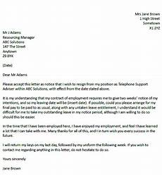 Examples Of Resignation Letters 2 Weeks Notice Resignation Letter Example With Two Weeks Notice
