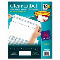 Avery Lable Maker Avery Index Maker Clear Label Divider Ld Products