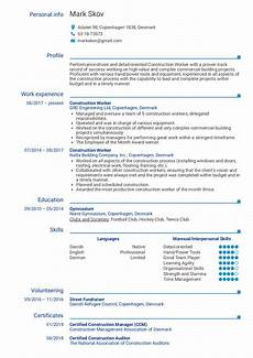 Construction Worker Resume Templates Construction Worker Resume Example Kickresume
