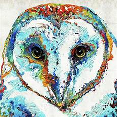 Colorful Owl Art Colorful Barn Owl Art Painting By