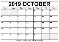 October Calendar October 2019 Printable Calendar 123calendars Com