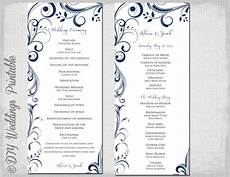 Wedding Ceremony Program Template Free Wedding Program Template Navy Blue Instant Download