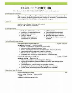 Detailed Resume For Nurses Best Intensive Care Unit Registered Nurse Resume Example