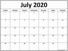 2020 17 Blank Calendar July 2020 Calendar Free Printable Monthly Calendars