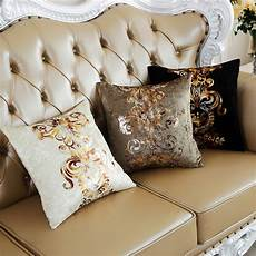 luxury pastoral style bronzing floral cushion cover home