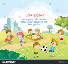 Children Playing Background Children Playing Outdoors Bright Summer Background Stock