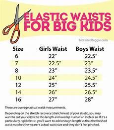 Elastic Size Chart Elastic Waist Cheat Sheets