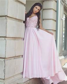 pretty pink satin evening gowns beaded v neck prom