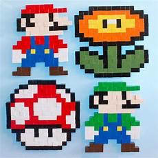 Pixelated Mario Characters 8 Bit Mario Brothers Wooden Block Pixel Pattern