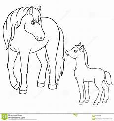 coloring pages farm animals with foal