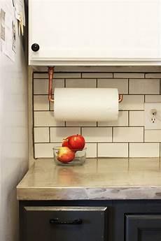 diy cabinet hanging copper paper towel holder