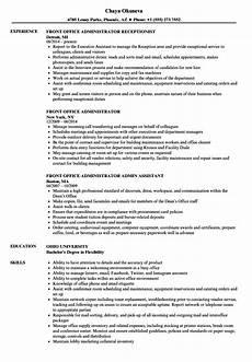 Resume Format For Admin Officer Front Office Administrator Resume Samples Velvet Jobs