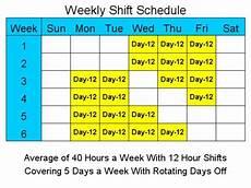 12 Hour Shift Schedule 12 Hour Schedules For 5 Days A Week Standaloneinstaller Com