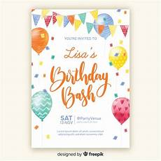 Electronic Birthday Invitations Templates Watercolor Style Birthday Invitation Template Free Vector