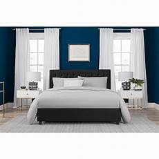 dhp emily black upholstered faux leather size bed