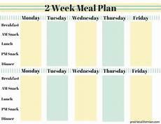 2 Week Meal Planner 2 Week Meal Plan 1