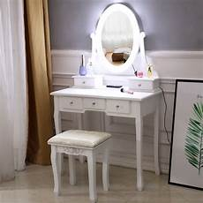 Vanity Table Set With Lights White Makeup Vanity Table Set With 10 Lights Mirror And 5