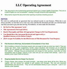Example Llc Operating Agreement Free 13 Sample Operating Agreement Templates In Pdf Ms