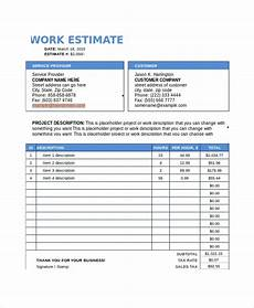 How To Create An Estimate Free 7 Sample Work Estimate Templates In Pdf Ms Word