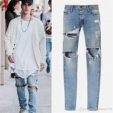 Justin Bieber Light Blue Jeans 2019 Justin Bieber Jeans Fear Of God Ripped Jeans Black