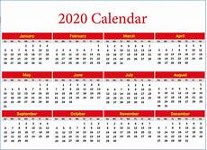 2020 Yearly Calendar Word 2020 Yearly Calendar Printable Calendar 2020
