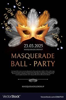 Masquerade Poster Template Masquerade Flyer Template With Gold Carnival Mask Vector Image