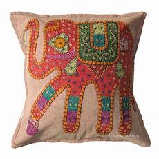 16 quot pink indian elephant patch embroidered cushion pillow