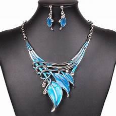 fashion lake blue leaf lariat y necklace chain necklace