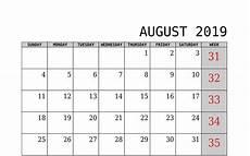 C Alendar August 2019 Calendar Uk Blank Template Free