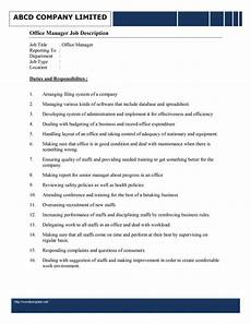 Office Job Description Office Manager Job Description Template