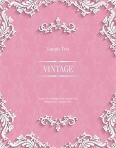 Pink Invitation Card Vector Pink 3d Vintage Invitation Card With Floral Damask