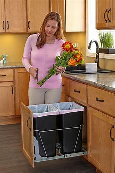 pull out trash garbage can waste container kitchen cabinet