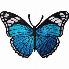 turquoise blue butterfly embroidered iron sew on patch